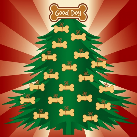 Christmas Tree with Dog Bone Treats, Good dog gingerbread ornament, red ray background   Vector