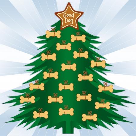 Good Dog Christmas Tree, Gingerbread dog bone treats, star ornament, blue ray background