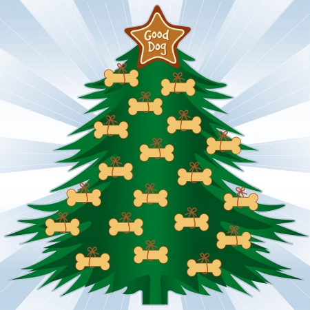 christmas cookie: Good Dog Christmas Tree, Gingerbread dog bone treats, star ornament, blue ray background