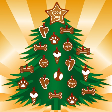 t bone: My Dogs Favorite Christmas Tree, Dog bone, T bone steak, ice cream cone, paw print, license tag, gold ray background Illustration