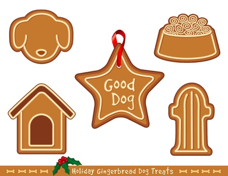 Holiday Gingerbread Treats for Good Dogs,  Doghouse, dog bone biscuit, fire hydrant, dog dish with kibble, star Vector