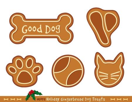 hueso de perro: Holiday Gingerbread Golosinas para perros buenos filete T-bone, pelota, hueso de perro, gato, gatito, impresi�n de la pata