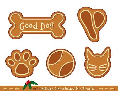 Holiday Gingerbread Treats for Good Dogs  T bone steak, ball, dog bone, kitty cat, paw print Illustration