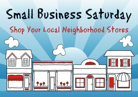 Sábado de los pequeños negocios una fiesta americana celebrada el sábado después de Acción de Gracias para fomentar las compras en los negocios pequeños y locales Ilustración de vector