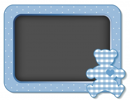 Baby Teddy Bear nursery frame board in pastel blue gingham and polka dots with copy space for scrapbooks, albums, baby books Ilustracja