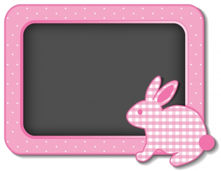 Baby Bunny Rabbit nursery frame board in pastel pink gingham and polka dots with copy space for scrapbooks, albums, baby books Stock Vector - 15561706