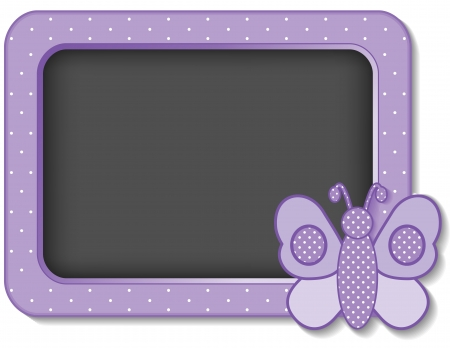 Baby Butterfly nursery frame board in pastel lavender polka dots with copy space for scrapbooks, albums, baby books
