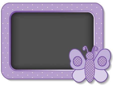 bebe a bordo: Mariposa del beb� vivero junta marco en colores pastel polka dots lavanda con copia espacio para los libros de recuerdos, �lbumes, libros para beb�s Vectores
