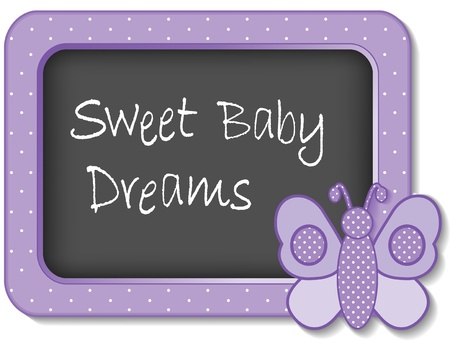 Sweet Baby Dreams nursery frame board butterfly in pastel lavender polka dots for scrapbooks, albums, baby books Vector