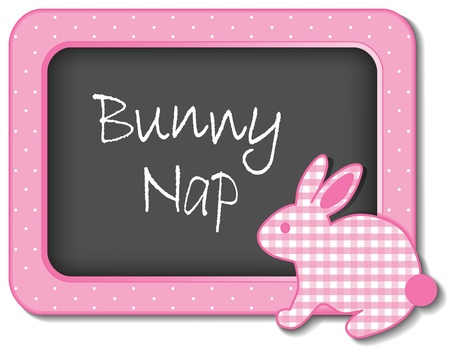 drowse: Bunny Nap nursery frame board baby rabbit in pastel pink gingham and polka dots for scrapbooks, albums, baby books
