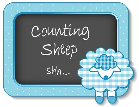 Counting Sheep, nursery frame board, baby lamb in pastel aqua gingham and polka dots for scrapbooks, albums, baby books Vector