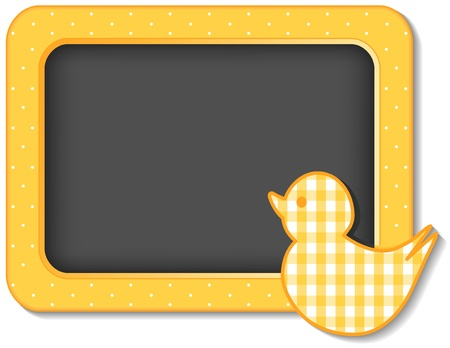 Little Duck, nursery frame board, baby bird pastel yellow gingham and polka dots with copy space for scrapbooks, albums, baby books Stock Vector - 15587060