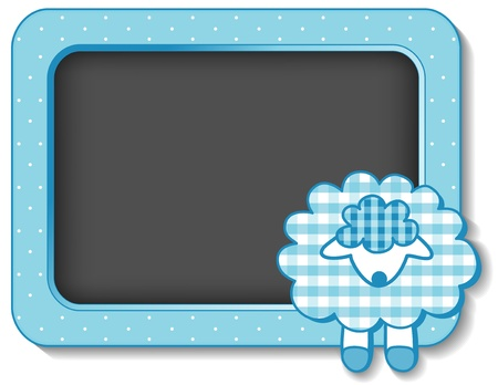 Baby Lamb nursery frame board in pastel aqua gingham and polka dots with copy space for scrapbooks, albums, baby books