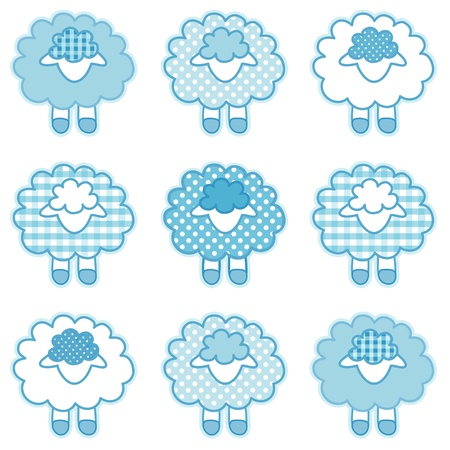 Baby Lambs in pastel aqua patchwork gingham and polka dots for baby books, scrapbooks, albums Vector