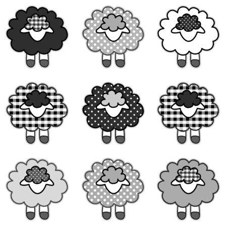 zwart schaap: Black Sheep in zwart-wit patchwork ruitjes en stippen voor plakboeken, albums