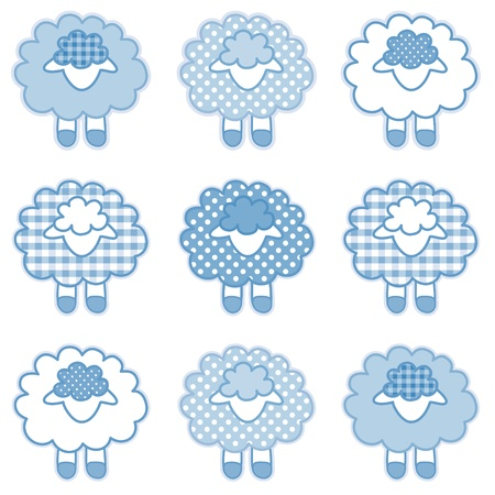 Baby Lambs in pastel blue patchwork gingham and polka dots for baby books, scrapbooks, albums Vector