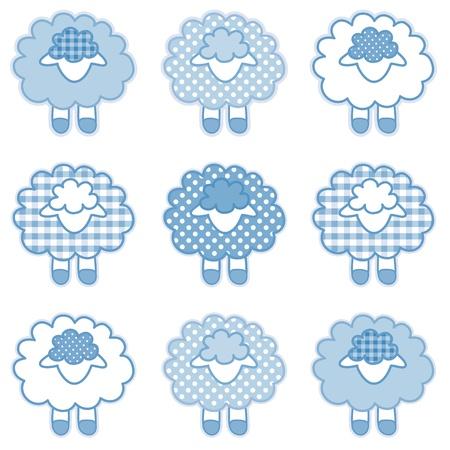 pasen schaap: Baby Lammeren in pastel blauw patchwork ruitjes en stippen voor baby boeken, plakboeken, albums