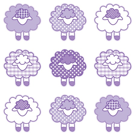 Baby Lambs in pastel lavender patchwork gingham and polka dots for baby books, scrapbooks, albums Vector