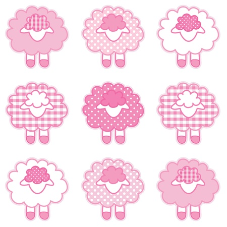 Baby Lambs in pastel pink patchwork gingham and polka dots for baby books, scrapbooks, albums Vector