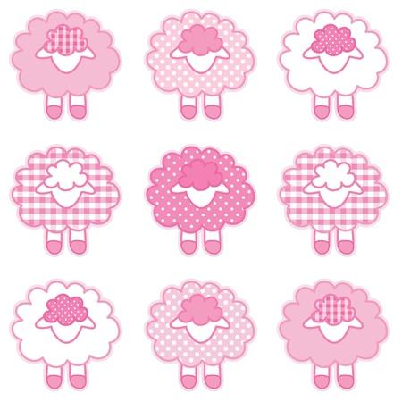 ovejita bebe: Beb� corderos en rosa pastel patchwork de algod�n barato y los lunares de libros para beb�s, �lbumes de recortes, �lbumes