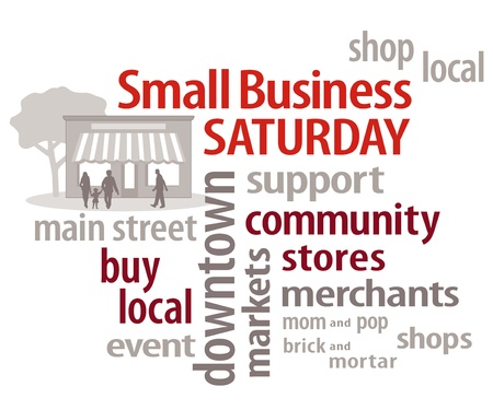 business words: Small Business Saturday, USA promotion after Thanksgiving, Word Cloud