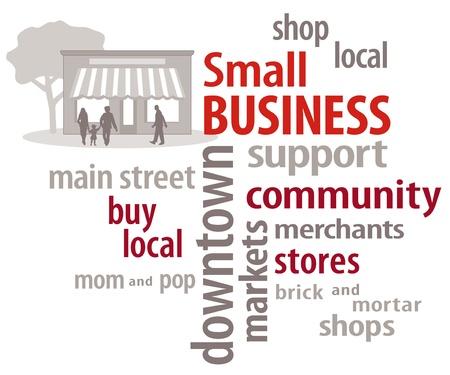 retail shop: Peque�os Negocios de Word tiendas Nube tienda local de la comunidad Vectores