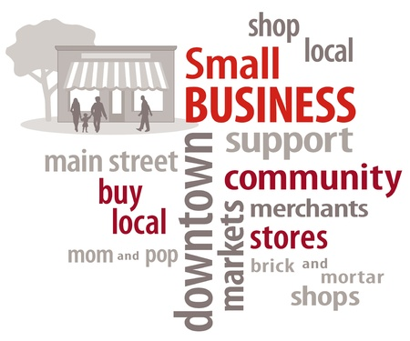 Small Business Word Cloud  Shop local community stores  Vector