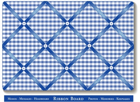 Ribbon Bulletin Board, blue satin ribbons on gingham check French style memory board Vector