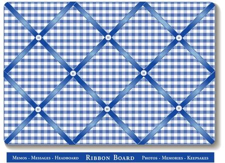 memory board: Tabl�n de anuncios de la cinta, cintas de sat�n en azul gingham comprobar bordo franc�s memoria estilo