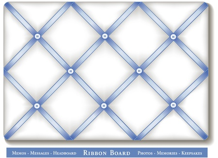 memory board: Ribbon Bulletin Board, pastel blue satin ribbons on French style white memory board