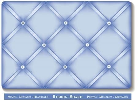 Ribbon Bulletin Board, pastel blue satin ribbons on French style memory board Stock Vector - 16026114