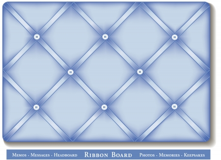 memory board: Ribbon Bulletin Board, pastel blue satin ribbons on French style memory board Illustration