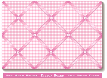 Ribbon Bulletin Board, pastel pink satin ribbons on gingham check French style memory board Vector
