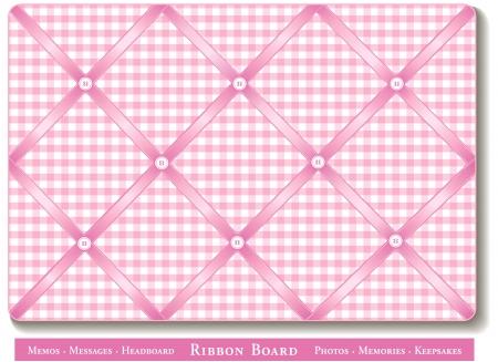 Ribbon Bulletin Board, pastel pink satin ribbons on gingham check French style memory board