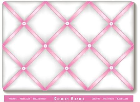memory board: Cinta Tabl�n de anuncios, cintas de raso de color rosa pastel a bordo de memoria estilo franc�s blanco