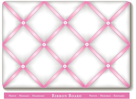 memory board: Ribbon Bulletin Board, pastel pink satin ribbons on French style white memory board