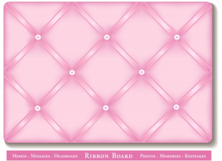 Ribbon Bulletin Board, pastel pink satin ribbons on French style memory board Vector