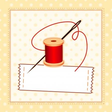 Costura Label, aguja e hilo, el patrón de cosido marco con copia espacio para añadir su nombre