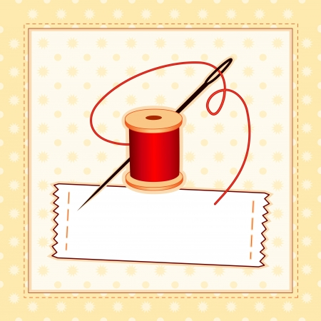 Sewing Label, Needle and Thread, stitched pattern frame with copy space to add your name Stock Illustratie
