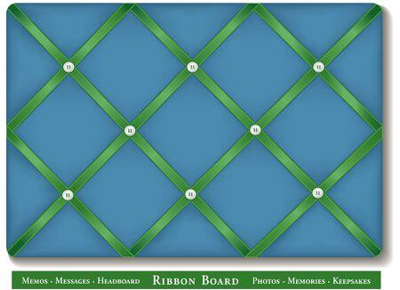 Board lint, satijnen linten op blauw groene Franse stijl geheugenkaart Stock Illustratie