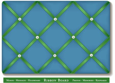 padded: Ribbon Board, satin ribbons on blue green French style memory board