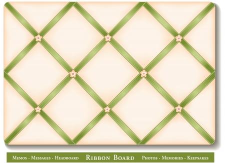 memory board: Cinta de la Junta, cintas de raso verde con botones florales a bordo franc�s memoria estilo