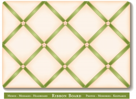 memory board: Ribbon Board, green satin ribbons with flower buttons on French style memory board
