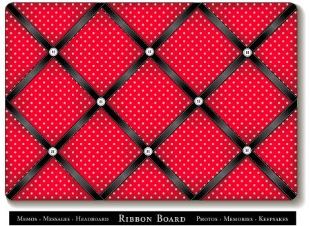 Lint van Commissarissen, zwart satijnen linten op rood met witte stippen, Franse stijl geheugenkaart Stockfoto - 16026121