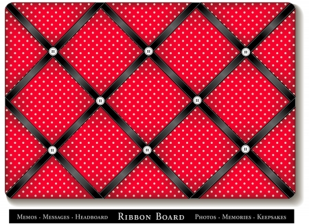 Ribbon Board, black satin ribbons on red with white polka dots, French style memory board Vector