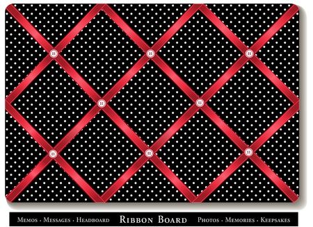 headboard: Ribbon Board, red satin ribbons on black with white polka dots, French style memory board