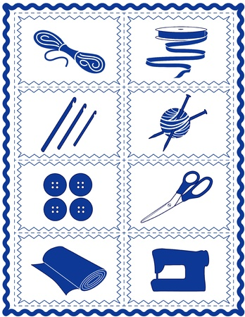 Sewing, Knit, Crochet, Craft Icons, tools and supplies for tailoring