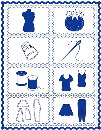 Sewing and Tailoring Icons, tools and supplies for dressmaking, needlework, quilting, darning, do it yourself projects, blue rick rack frame Vector