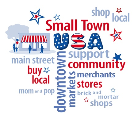 Small Town USA word cloud, store graphic in red, white and blue to support shopping at local businesses