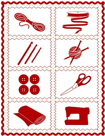 Sewing, Knit, Crochet, Craft Icons, tools and supplies for tailoring, dressmaking, quilting, textile arts, crafts, do it yourself projects, red rick rack frame Vector